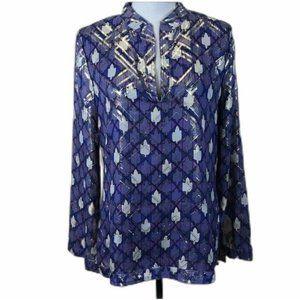 Tory Burch Stephanie Metallic Plaid Silk Tunic Top
